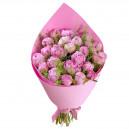 Букет цветов из 9 белых роз и эустом