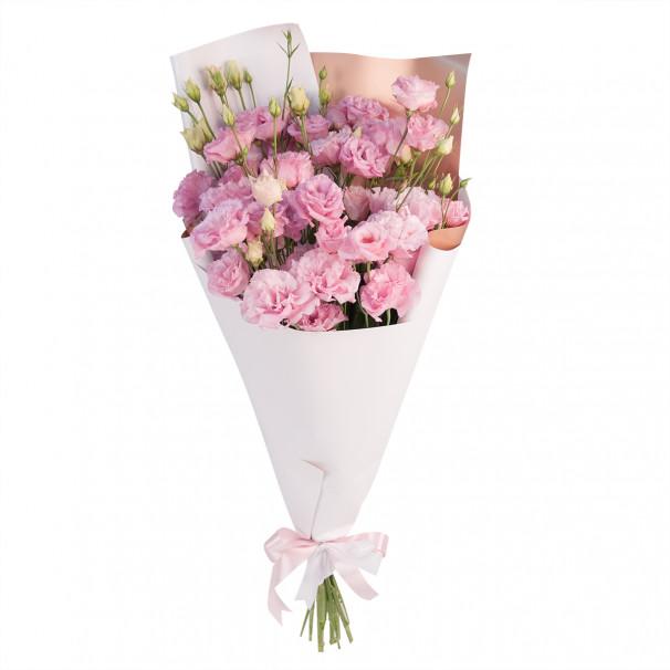 Букет цветов из 9 розовых эустом в упаковке