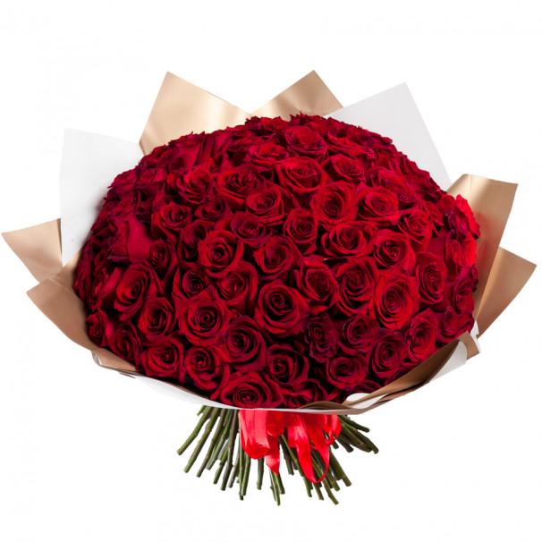 Букет из 101 красной розы 40-50 см (Эквадор) в упаковке