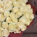 Букет из 101 белой розы 40-50 см (Эквадор) в упаковке
