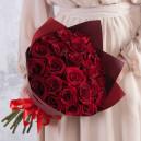 Букет из 25 красных роз 40-50 (Эквадор) в упаковке