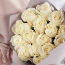 Букет из 15 белых роз 40-50 см (Эквадор) в упаковке