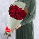 Букет 25 красных роз 60-70 см (Эквадор) в упаковке