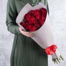 Букет из 15 красных роз 60-70 см в упаковке (Эквадор)