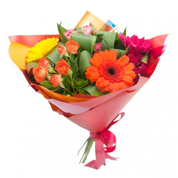 Букет из голландской кустовой розы и гербер