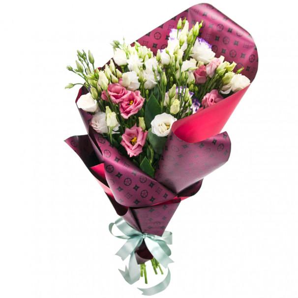 Букет цветов из 9 эустом в упаковке