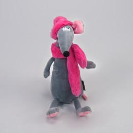 Игрушка Крыска Лариска в шарфе и шапке, 23 см