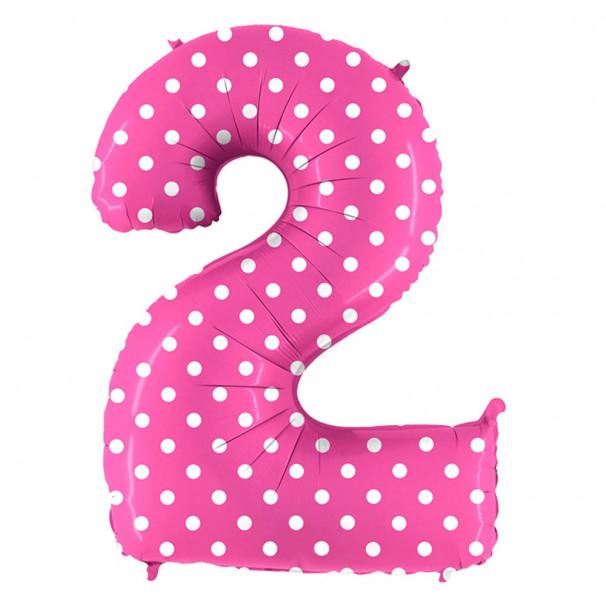 Шар Цифра 2 Горошек на розовом