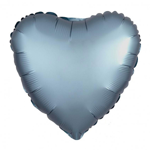 Шар Сердце Сатин Steel Blue 45 см