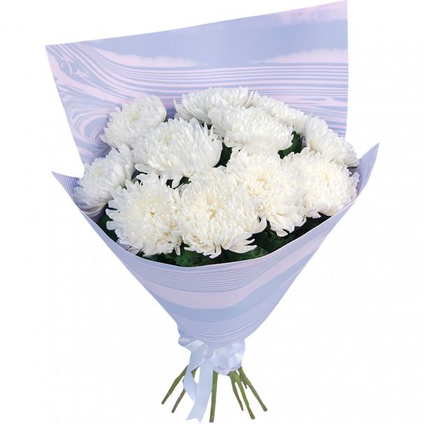 Букет из 11 белых хризантем в упаковке
