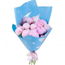Букет цветов из 11 розовых пионов в упаковке (Премиум)