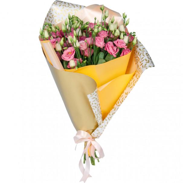 Букет цветов из 15 розовых эустом в упаковке