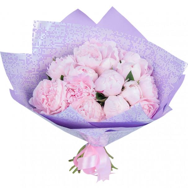 Букет из 15 розовых пионов в упаковке (Стандарт)