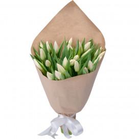 Букет 25 белых тюльпанов в упаковке