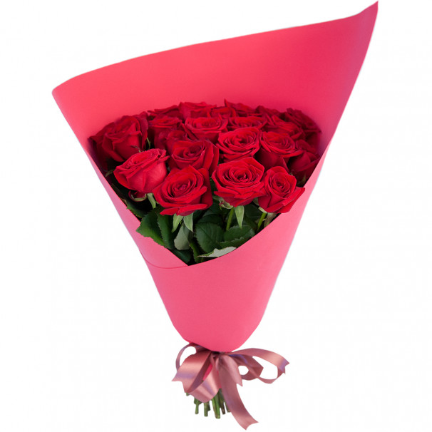 Букет цветов из 25 красных роз 50 см (Россия)