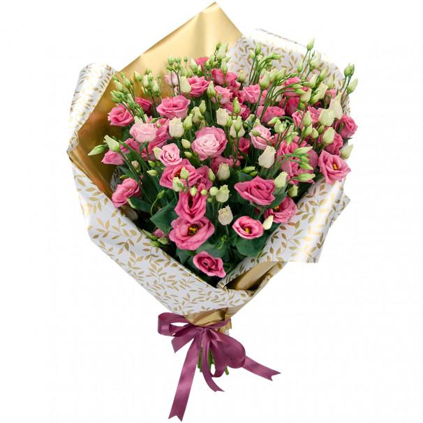 Букет цветов из 25 розовых эустом в упаковке