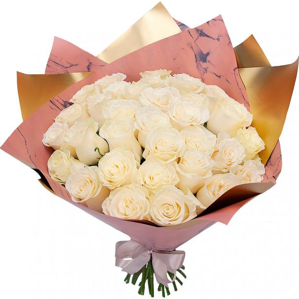 35 белых роз 50 см в упаковке (Эквадор)