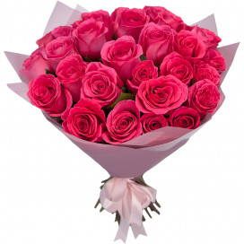 Букет из 35 розовых роз 50 см в упаковке (Эквадор)