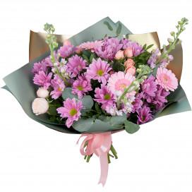 Букет с герберами, хризантемами и розами