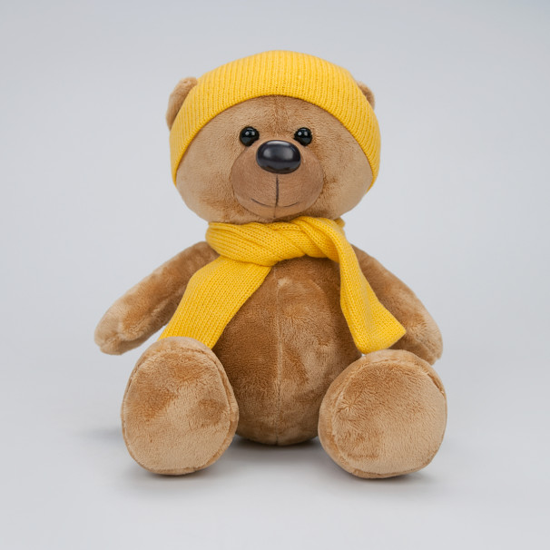 Игрушка Медведь Топтыжкин шапка-шарф желтый 25см