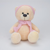 Игрушка Медведь Топтыжкин шапка-шарф розовый 25см