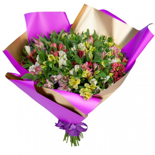 Букет цветов из 51 альстромерии микс