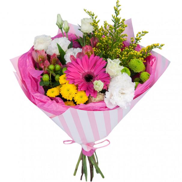 Букет цветов с герберой, альстромериями и хризантемами