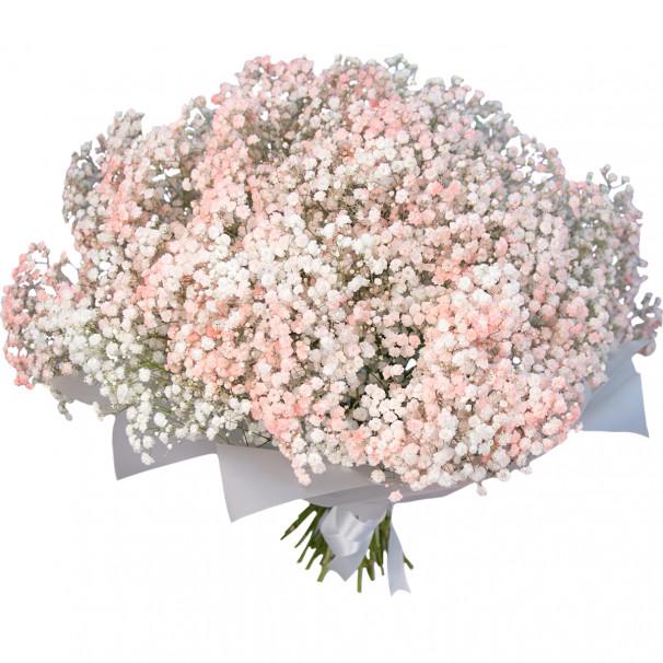 Букет цветов из персиковой гипсофилы