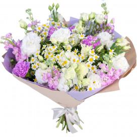 Букет цветов с ромашками и гвоздиками