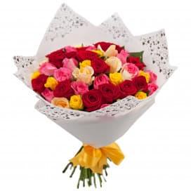 Букет из 51 розы микс 40 см (Россия)