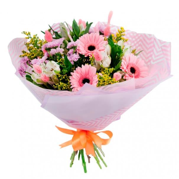 Букет цветов альстромерии и герберы