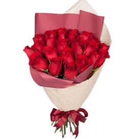 Букет №150 - 25 красных роз в упаковке