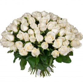 Букет из 101 белой розы (Россия) 50 см