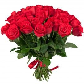 Букет из 51 красной розы 40-50 см (Эквадор) с лентой