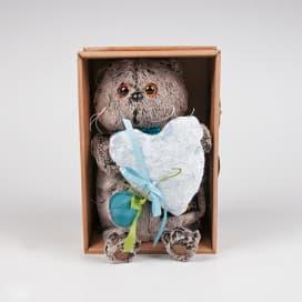 Игрушка Басик с сердцем из бархата, 19см