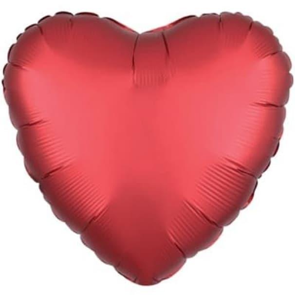Шар  Сердце Сатин Sangria 45см