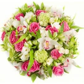 Весенний букет из орхидей, роз, альстромерий, фрезий и гвоздик №157