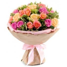 Букет из 25 роз в стиле шебби шик №158
