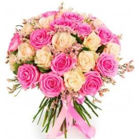 Нежный букет из белой и розовой эквадорской розы №164