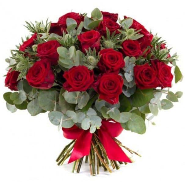 Стильный букет из красных эквадорских роз №169
