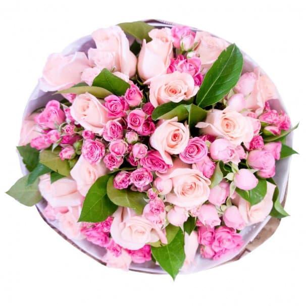 Пышный букет розовых роз №79