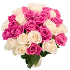 Букет из 31 белой из розовой розы (Эквадор)