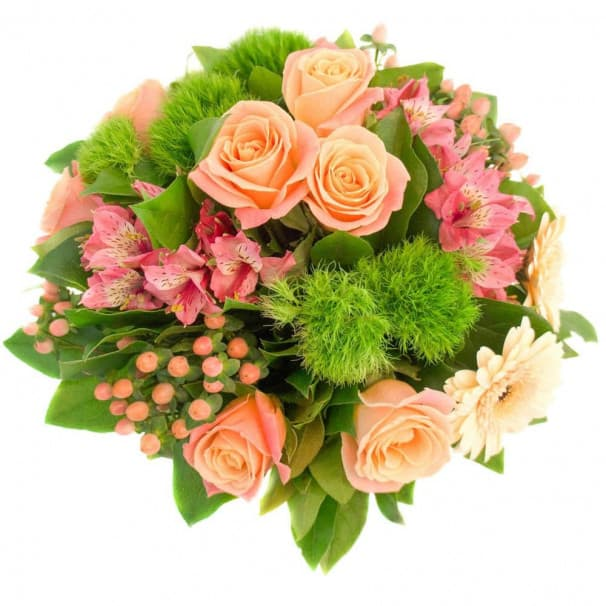 Легкий и нежный букет из роз и турецкой гвоздики  №106