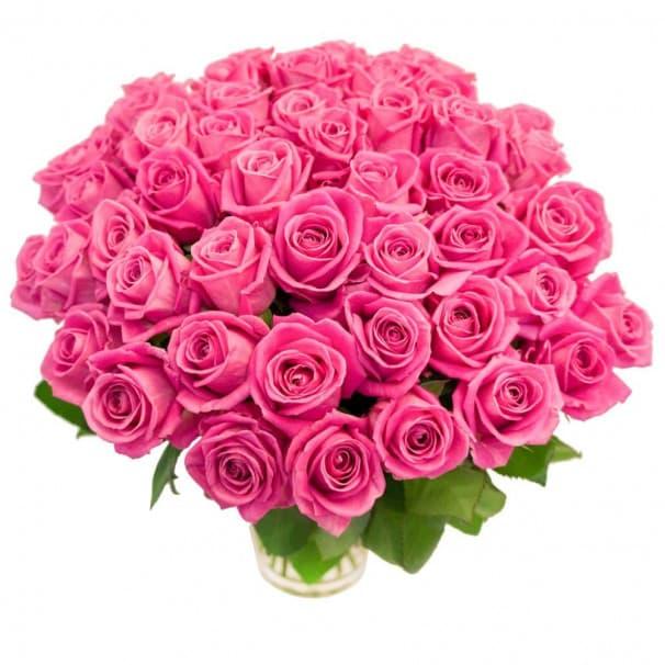Пастельный букет из 55 розовых роз №101