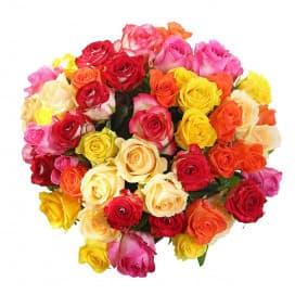 Красочный букет из разноцветных роз №245