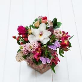 Букет №131 из орхидей, альстромерий, хиперикума