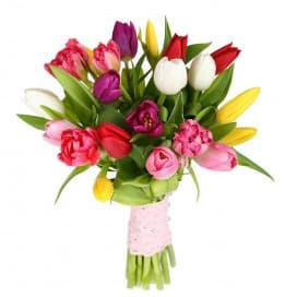 Букет №71 из 25 разноцветных тюльпанов