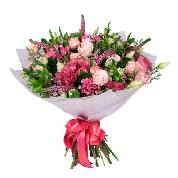 Букет №109 из розы бомбастик, эустомы и альстромерии