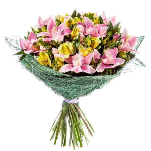 Букет №103 из альстромерий, роз, орхидей