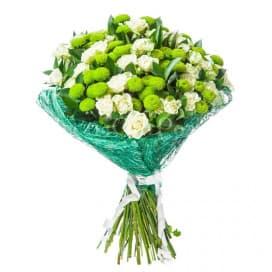 Букет цветов №17 из роз и хризантем